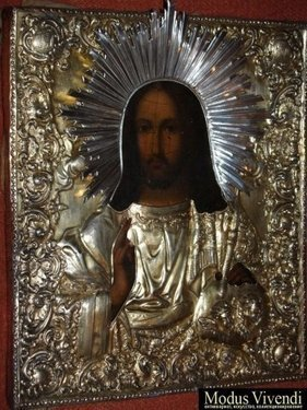 Икона  Спаситель в серебряном кованом окладе